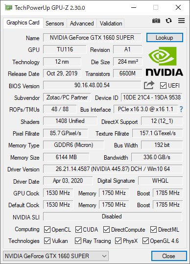 GPU-Z(GeForce GTX 1660 SUPER)